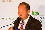 New York, NY - June 08:  Larry Collmus, anouncer for NYRA, at the post position draw at Rockefeller Center on JUNE 8, 2016, in New York, NY. (Photo by Sue Kawczynski/Eclipse Sportswire/Getty Images)