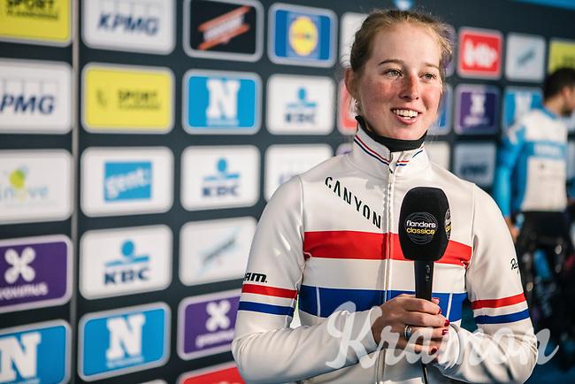 Alice Barnes (GBR/Canyon Sram Racing) pre race interview.<br /> <br /> 75th Omloop Het Nieuwsblad 2020 (BEL)<br /> Women's Elite Race <br /> Gent – Ninove: 123km<br /> <br /> ©kramon
