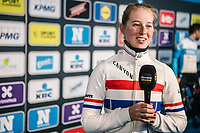 Alice Barnes (GBR/Canyon Sram Racing) pre race interview.<br /> <br /> 75th Omloop Het Nieuwsblad 2020 (BEL)<br /> Women's Elite Race <br /> Gent – Ninove: 123km<br /> <br /> ©kramon