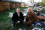 Buncefield Oil Depot Blast Disater happened on December 11, 2005. Karen Kucper and Barry Phillips, victims of the disaster pictured here one year on at their totally destroyed home. Hemel Hempstead, UK. December 6, 2006..Copyright Photo: Helen Atkinson +44 7976 265253