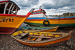 Colorful wooden boats, Southern Chile, South America
