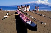 Hawaiian ceremony being held near the water on the island of Kahoolawe