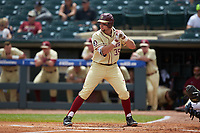 Cal Raleigh (35) of the Florida State Seminoles at bat against the North Carolina Tar Heels in the 2017 ACC Baseball Championship Game at Louisville Slugger Field on May 28, 2017 in Louisville, Kentucky. The Seminoles defeated the Tar Heels 7-3. (Brian Westerholt/Four Seam Images)