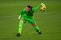 ORLANDO CITY, FL - FEBRUARY 18: Stephanie Labbé #1 rolls the ball to a teammate during a game between Canada and USWNT at Exploria stadium on February 18, 2021 in Orlando City, Florida.