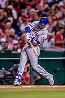 21 September 2018: New York Mets second baseman Jeff McNeil at bat in the 3rd inning against the Washington Nationals at Nationals Park in Washington, DC. The Mets defeated the Nationals 4-2 in the second game of their 4-game series. Mandatory Credit: Ed Wolfstein Photo *** RAW (NEF) Image File Available ***