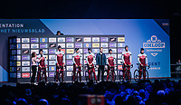 Team Katusha-Alpecin at the pre-race team presentation in the legendary Kuipke Velodrome<br /> <br /> Omloop Het Nieuwsblad 2018<br /> Gent › Meerbeke: 196km (BELGIUM)