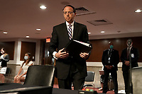 """Former United States Deputy Attorney General Rod Rosenstein arrives for a US Senate Judiciary Committee hearing to discuss the FBI's """"Crossfire Hurricane"""" investigation on Wednesday, June 3, 2020.<br /> Credit: Greg Nash / Pool via CNP/AdMedia"""