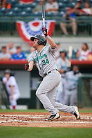 Daytona Tortugas third baseman Mitch Nay (34) follows through on a swing during a game against the Florida Fire Frogs on April 7, 2018 at Osceola County Stadium in Kissimmee, Florida.  Daytona defeated Florida 4-3 in a six inning rain shortened game.  (Mike Janes/Four Seam Images)