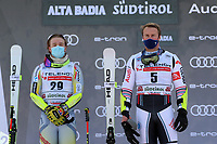20th December 2020; Alta Badia, South-Tyrol, Italy; International Ski Federation World Cup Alpine Skiing, Giant Slalom;  Atle Lie McGrath (NOR) and Alexis Pinturault (FRA) on the winners podium