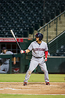 AZL Indians left fielder Tre Gantt (1) bats during a game against the AZL Angels on August 7, 2017 at Tempe Diablo Stadium in Tempe, Arizona. AZL Indians defeated the AZL Angels 5-3. (Zachary Lucy/Four Seam Images)