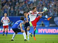 07.04.2018, Football 1. Bundesliga 2017/2018, 29.  match day, Hamburger SV - FC Schalke 04, Volksparkstadium Hamburg.  Benjamin Stambouli (Schalke) and Thilo Kehrer (Schalke)  -  Gian-Luca Waldschmidt (Hamburg)  *** Local Caption *** © pixathlon<br /> <br /> Contact: +49-40-22 63 02 60 , info@pixathlon.de
