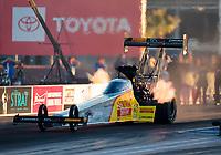 Oct 31, 2020; Las Vegas, Nevada, USA; NHRA top fuel driver Tony Schumacher during qualifying for the NHRA Finals at The Strip at Las Vegas Motor Speedway. Mandatory Credit: Mark J. Rebilas-USA TODAY Sports