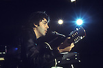 """Paul McCartney. 1970s Wings tour rehearsal. The photographs from this set were taken in 1975. I was on tour with them for a children's """"Fact Book"""". This book was called, The Facts about a Pop Group Featuring Wings. Introduced by Paul McCartney, published by G.Whizzard. They had recently recorded albums, Wildlife, Red Rose Speedway, Band on the Run and Venus and Mars. I believe it was the English leg of Wings Over the World tour. But as I recall they were promoting,  Band on the Run and Venus and Mars in particular."""