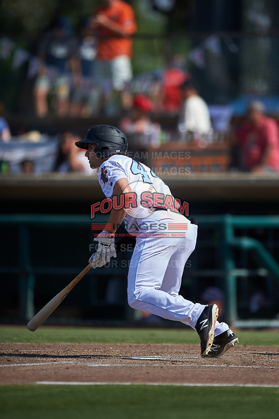 Inland Empire 66ers right fielder Brandon Sandoval (44) starts down the first base line during a California League game against the Lancaster JetHawks at San Manuel Stadium on May 20, 2018 in San Bernardino, California. Inland Empire defeated Lancaster 12-2. (Zachary Lucy/Four Seam Images)