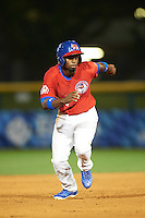 Buffalo Bisons center fielder Melky Mesa (24) running the bases during a game against the Louisville Bats on June 20, 2016 at Coca-Cola Field in Buffalo, New York.  Louisville defeated Buffalo 4-1.  (Mike Janes/Four Seam Images)