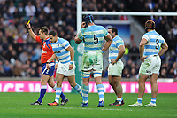 Joaquin Tuculet of Argentina is given a yellow card by Referee Marius van der Westhuizen of South Africa for an in air tackle of Mike Brown of England  during the Old Mutual Wealth Series match between England and Argentina at Twickenham Stadium on Saturday 11th November 2017 (Photo by Rob Munro/Stewart Communications)