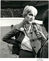 Le rassemblement des YVETTES au Forum de Montreal, le 7 avril 1980.<br /> <br /> PHOTO : agence quebec presse