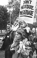 Uneasy rider; This little girl looked a bit dubious about things as she was carried at a Queen's Park demonstration by students whose community colleges have been closed by teachers' strike.<br /> <br /> Photo : Boris Spremo - Toronto Star archives - AQP