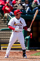 Aaron Luna (10) of the Springfield Cardinals at bat during a game against the Frisco RoughRiders on April 16, 2011 at Hammons Field in Springfield, Missouri.  Photo By David Welker/Four Seam Images