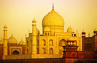 Taj Mahal, Agra, India. Early morning light. Viewed from across the River Yamuna. .
