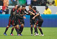 CARSON, CA - March 25, 2012: Mexico players celebrating a goal during the Mexico vs Honduras match at the Home Depot Center in Carson, California. Final score Mexico 3, Honduras 0.