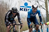 Mathias Norsgaard (DEN/Movistar) up the Oude Kwaremont<br /> <br /> 105th Ronde van Vlaanderen 2021 (MEN1.UWT)<br /> <br /> 1 day race from Antwerp to Oudenaarde (BEL/264km) <br /> <br /> ©kramon