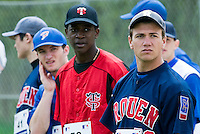 18 April 2006: Philippe Lecourieux is seen next to Frederic Hanvi and Joris Bert during the third of seven 2006 MLB European Academy Try-out Sessions throughout Europe, at Stade Pershing, INSEP, near Paris, France. Try-out sessions are run by members of the Major League Baseball Scouting Bureau with assistance from MLBI staff.