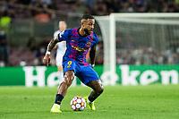 14th September 2021: Nou Camp, Barcelona, Spain: ECL Champions League football, FC Barcelona versus Bayern Munich: 9 Memphis Depay FC Barcelona player cuts back on the ball
