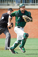 Charlotte 49ers catcher Ross Steedley #40 chases after a wild pitch against the Saint Peter's Peacocks at Robert and Mariam Hayes Stadium on February 18, 2012 in Charlotte, North Carolina.  Brian Westerholt / Four Seam Images