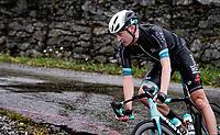 Lucas Hamilton (AUS/BikeExchange) descending the Col du Pré (HC/1748m) towards the Barrage de Roselend in, yet again, grim conditions.<br /> <br /> Stage 9 from Cluses to Tignes (145km)<br /> 108th Tour de France 2021 (2.UWT)<br /> <br /> ©kramon