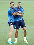 Real Madrid's Sergio Ramos (l) and Danilo Luiz da Silva during Champions League 2015/2016 training session. May 27,2016. (ALTERPHOTOS/Acero)