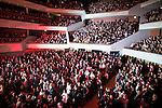 """© Joel Goodman - 07973 332324 . 05/02/2016 . Manchester , UK . The audience . """" Hacienda Classical """" debut at the Bridgewater Hall . The 70 piece Manchester Camerata and performers including New Order's Peter Hook , Shaun Ryder , Rowetta Idah , Bez and Hacienda DJs Graeme Park and Mike Pickering mixing live compositions . Photo credit : Joel Goodman"""
