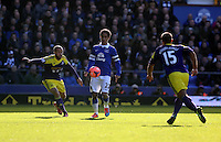"""Pictured L-R: Ashley """"Jazz"""" Richards of Swansea and Steven Pienaar of Everton.  Sunday 16 February 2014<br /> Re: FA Cup, Everton v Swansea City FC at Goodison Park, Liverpool, UK."""