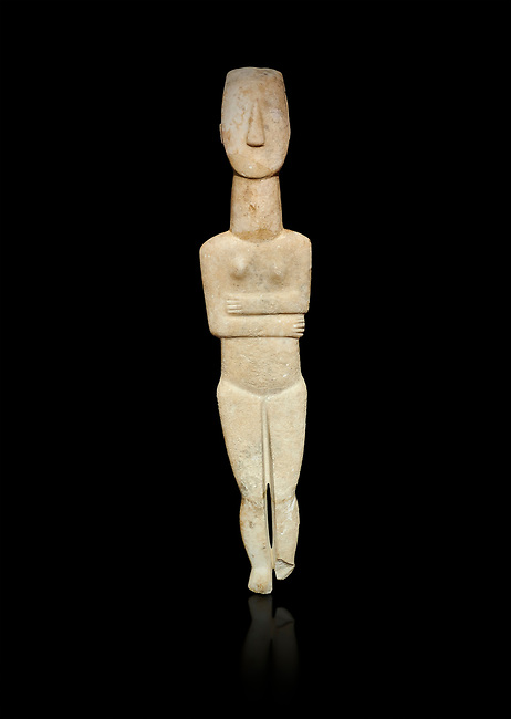 Marble female Cycladic statue figurine with folded arms of the Spedos type. Early Cycladic Period II (2800-3200) from Naxos, Cat No 20934. National Archaeological Museum, Athens. Black background.<br /> <br /> One of the largest known Cycladic statues at 89CM tall this figurine still has traces of a colour on the hair and eyes.