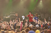 , 2002 File Photo<br /> <br /> Rock group Simple Plan  in concert<br /> <br /> <br /> (Mandatory Credit: Photo by Sevy - Images Distribution (©) Copyright 2002 by Sevy<br /> <br /> NOTE :  D-1 H original JPEG, saved as Adobe 1998 RGB