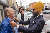 NDP leader Jagmeet Singh talks with a passerby as he visits Alma in the riding of Lac St-Jean on October 10, 2017.<br /> <br /> PHOTO :  Francis Vachon - Agence Quebec Presse