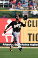 San Antonio Missions outfielder Rymer Liriano (23) catches a fly ball during a game against the Arkansas Travelers on May 25, 2014 at Dickey-Stephens Park in Little Rock, Arkansas.  Arkansas defeated San Antonio 3-1.  (Mike Janes/Four Seam Images)