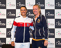 Arena Loire,  Trélazé,  France, 14 April, 2016, Semifinal FedCup, France-Netherlands, Draw,  French Caroline Garcia and Dutch Kiki Bertens (R) first match saturday<br /> Photo: Henk Koster/Tennisimages