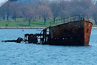 Clason Point April Construction Site Rusted boat