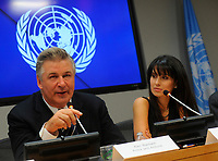 NEW YORK, NY - SEPTEMBER 21: Alec Baldwin and Hilaria Baldwin attend the announcement of the 2015 Equator Prize winners at the United Nations on September 21, 2015 in New York City.<br /> <br /> People:  Alec Baldwin, Hilaria Baldwin