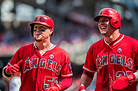 16 August 2017: Los Angeles Angels outfielder Kole Calhoun returns to the dugout with Mike Trout (right) after Calhoun hits a 2-run go ahead homer in the 6th inning against the Washington Nationals at Nationals Park in Washington, DC. The Angels defeated the Nationals 3-2 to split their 2-game series. Mandatory Credit: Ed Wolfstein Photo *** RAW (NEF) Image File Available ***