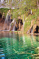 Pond and waterfall over the travatines of Plitvice. Plitvice ( Plitvika ) Lakes National Park, Croatia. A UNESCO World Heritage Site