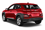 Car pictures of rear three quarter view of 2019 Hyundai Kona-EV Ultimate 5 Door SUV Angular Rear