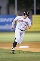 Corey Zangari (14) of the Kannapolis Intimidators rounds third base during the game against the Asheville Tourists at Intimidators Stadium on May 28, 2016 in Kannapolis, North Carolina.  The Intimidators defeated the Tourists 5-4 in 10 innings.  (Brian Westerholt/Four Seam Images)