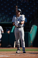 Elijah Dunham (14) of the Hudson Valley Renegades steps up to the plate during the game against the Greensboro Grasshoppers at First National Bank Field on September 2, 2021 in Greensboro, North Carolina. (Brian Westerholt/Four Seam Images)