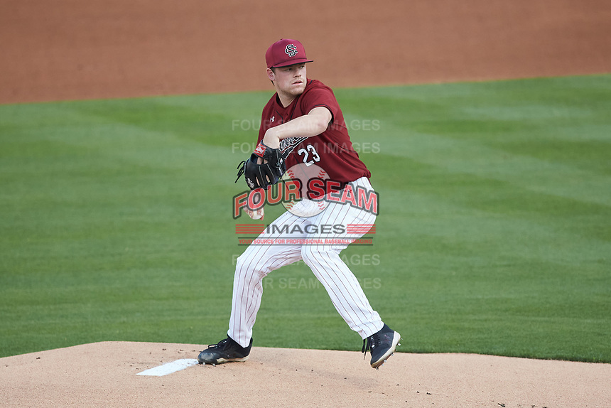 South Carolina Gamecocks starting pitcher Jack Mahoney (23) in action against the North Carolina Tar Heels at Truist Field on April 6, 2021 in Charlotte, North Carolina. (Brian Westerholt/Four Seam Images)