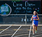 North East's Kaitlyn Hamilton finishes the final lap in her course record 20:20 performance for a win in the quad cross country meet at North East High School in North East, Maryland on September 11, 2012 featuring boys and girls from North East, Elkton, Aberdeen and Edgewood High School's.