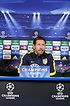 Atletico de Madrid´s coach Diego `Cholo´Simeone attends a press conference the day before Champions League match at Vicente Calderon Stadium in Madrid, Spain. December 10, 2013. (ALTERPHOTOS/Victor Blanco)