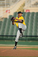 West Virginia Power relief pitcher Junior Lopez (19) in action against the Kannapolis Intimidators at CMC-Northeast Stadium on April 21, 2015 in Kannapolis, North Carolina.  The Power defeated the Intimidators 5-3 in game one of a double-header.  (Brian Westerholt/Four Seam Images)