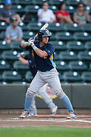 P.J. Higgins (4) of the Myrtle Beach Pelicans at bat against the Winston-Salem Dash at BB&T Ballpark on May 11, 2017 in Winston-Salem, North Carolina.  The Pelicans defeated the Dash 9-7.  (Brian Westerholt/Four Seam Images)
